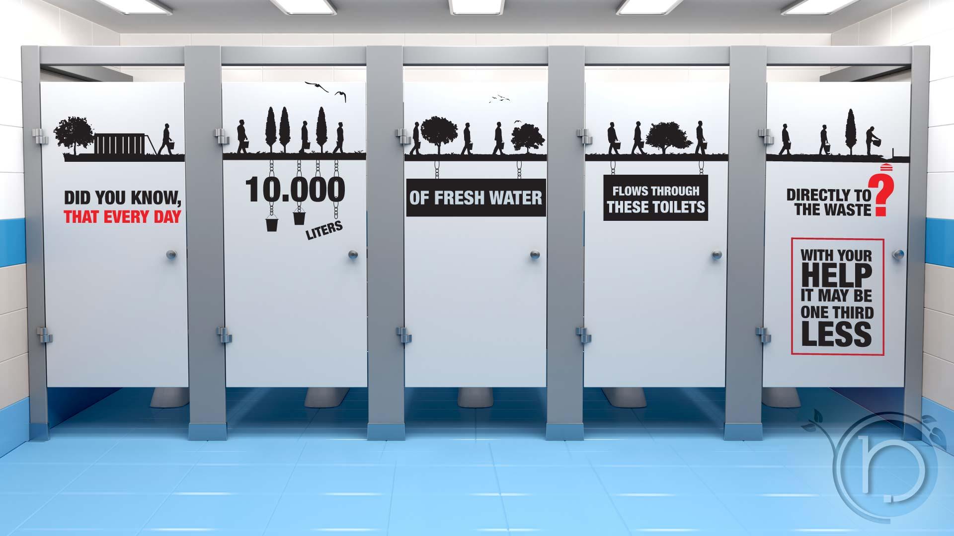 Environmental Literacy decal on toilet